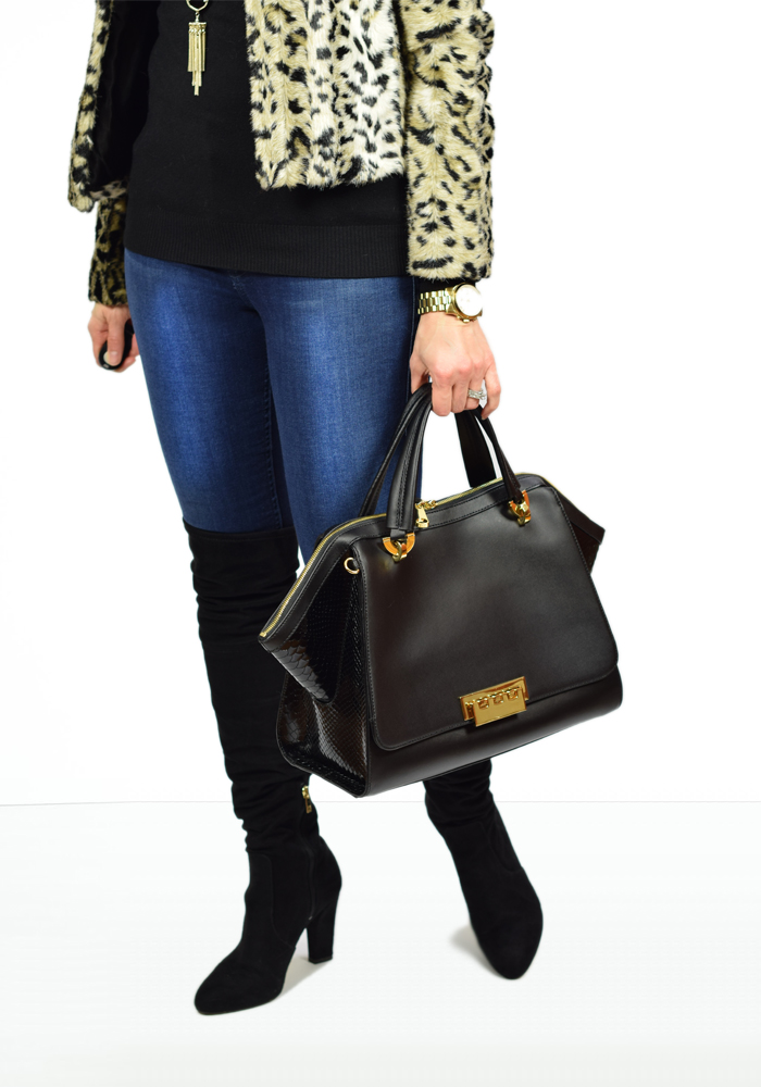 express leopard jacket, kendra scott rayne necklace, ivanka trump over the knee boots