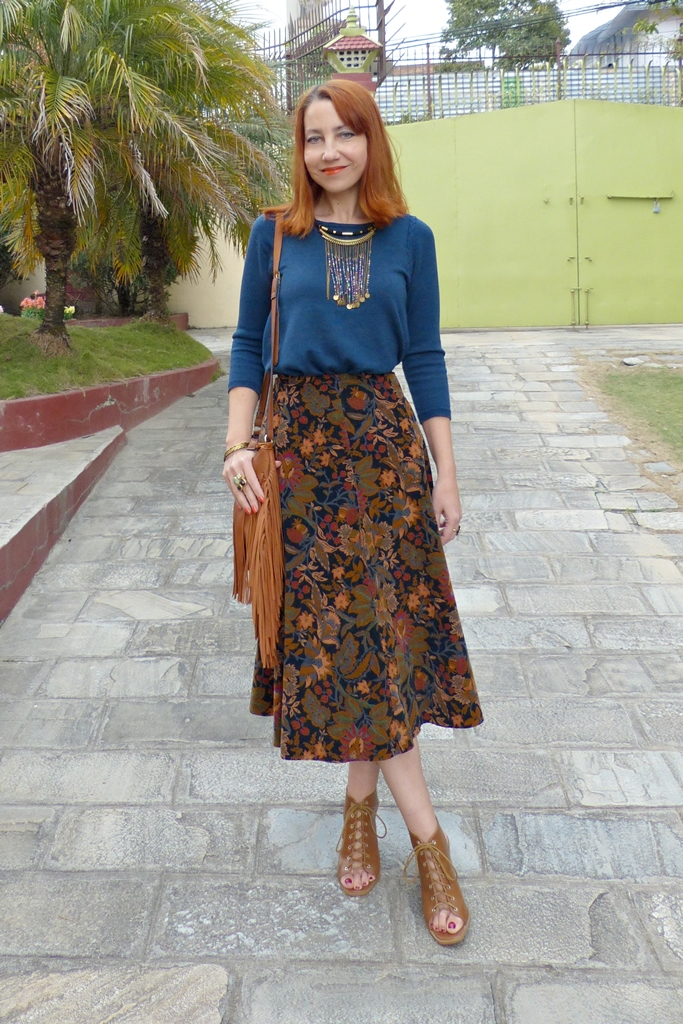 Vintage St.Michaels corduroy skirt with knit top