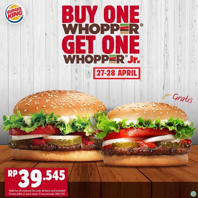#BurgerKing - #Promo Buy Whopper GRATIS Whopper Jr. (s.d 28 April 2019)
