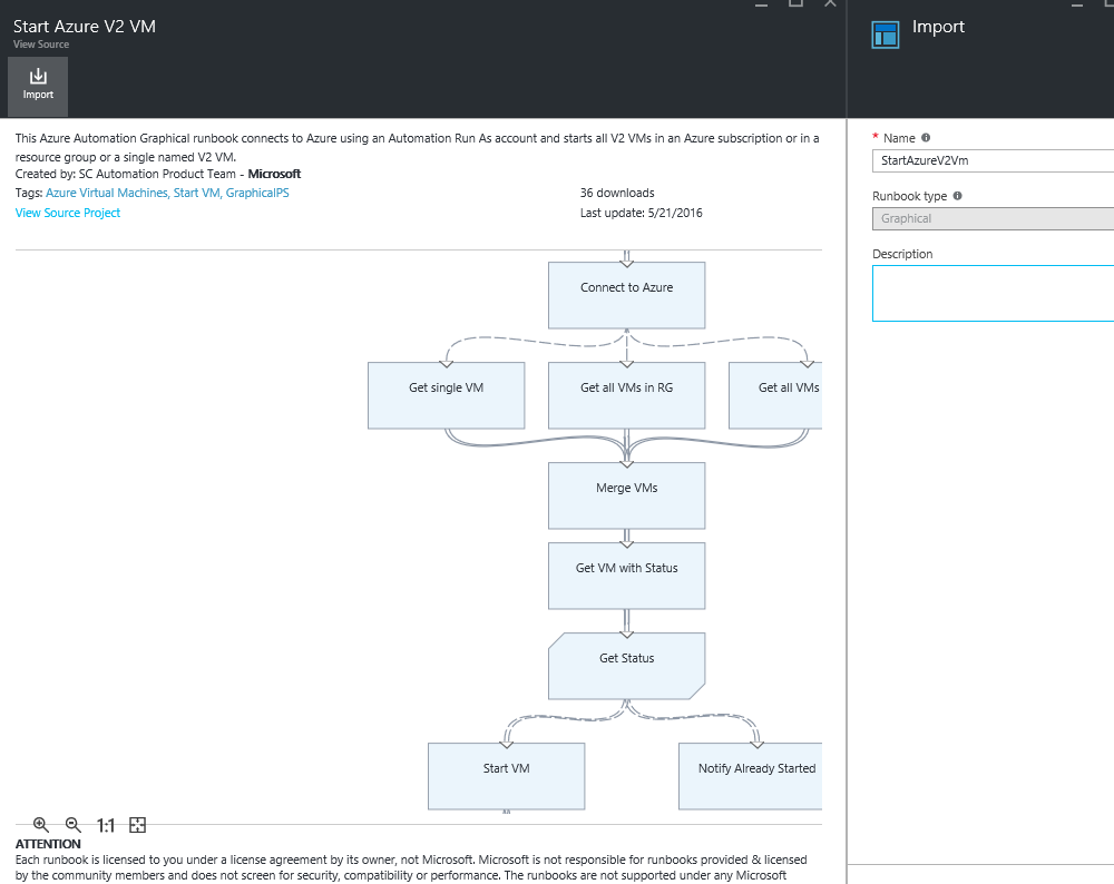 Azure automation:Using Graphical runbooks