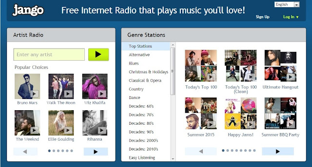 Jango free radio station website's homepage