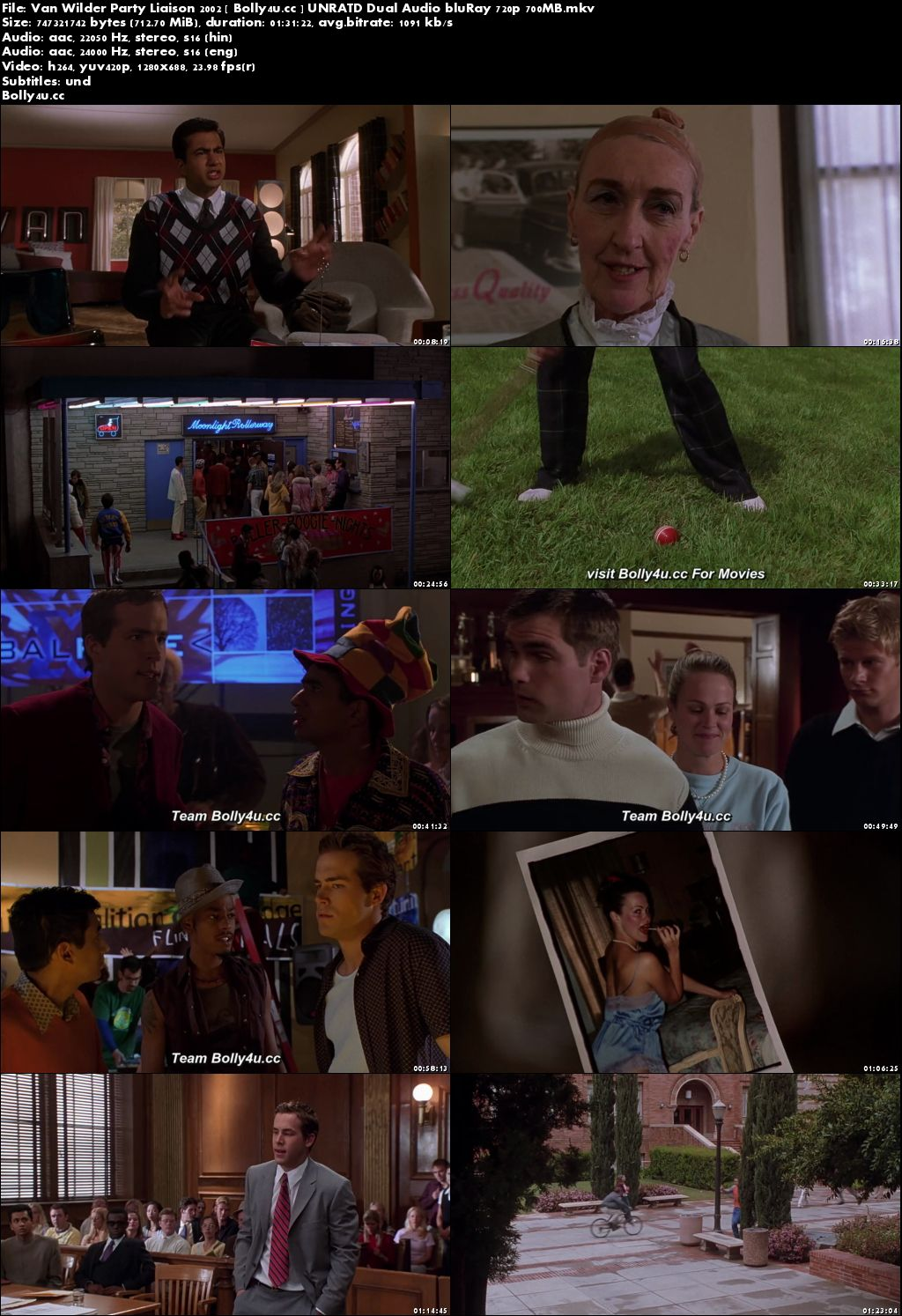 Van Wilder Party Liaison 2002 BRRip 300MB UNRATD Hindi Dual Audio 480p Download