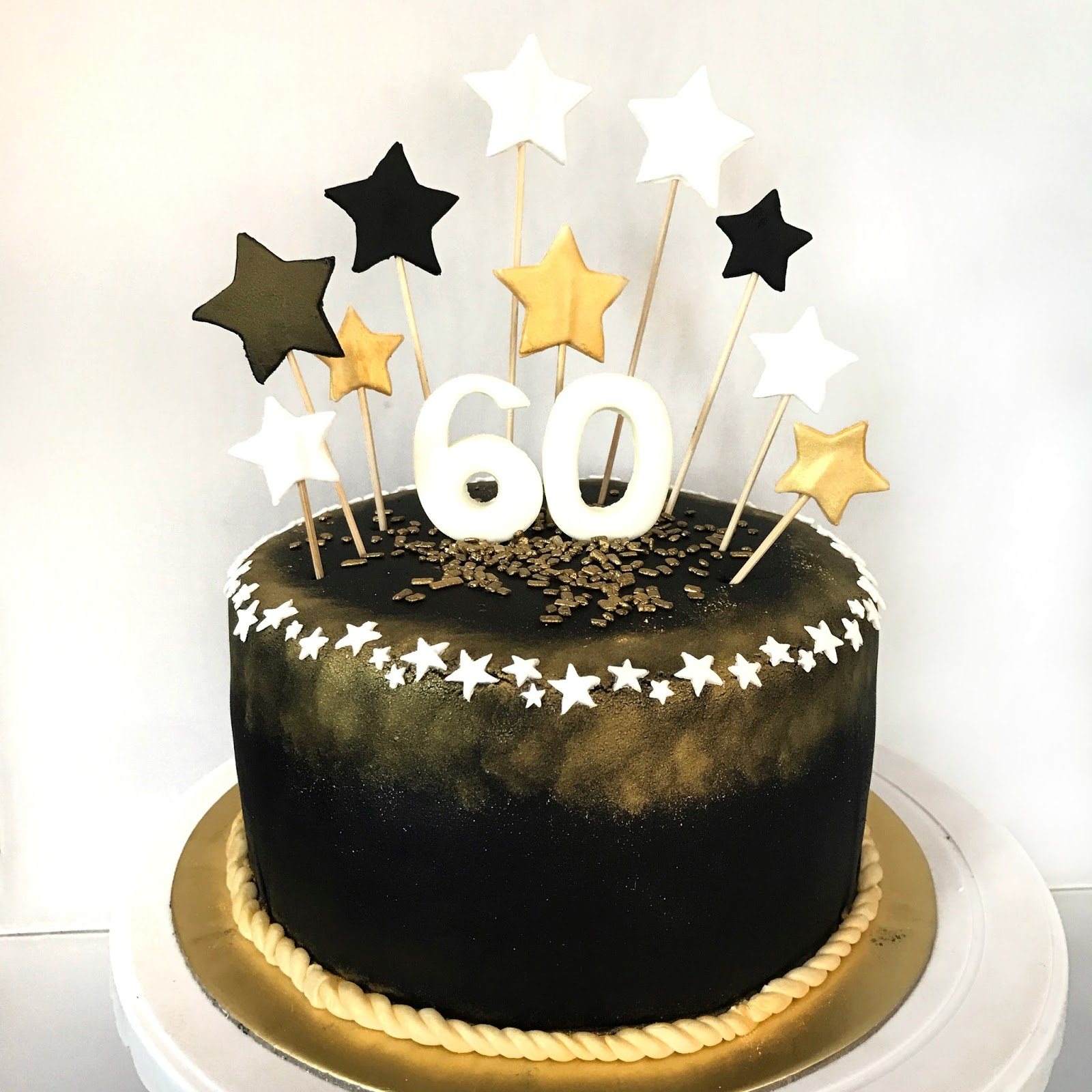 Black And Gold 60th Birthday Cake
