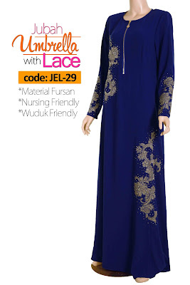 Jubah Umbrella Lace JEL-29 Blue Depan 4