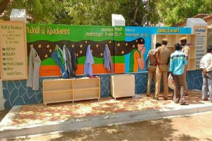 faith in humanity - The Tirunelveli 'Wall of Kindness' is an initiative of Sandeep Nanduri, the Tiruneliveli Collector, who realized that the Collectorate was a place where lots of people come and so ideal to raise awareness as well as get help for the poor and needy.