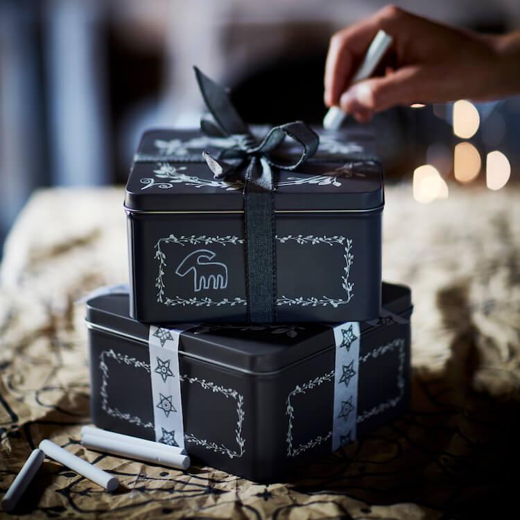 cajas para guardar o regalar que se pueden decorar con tiza