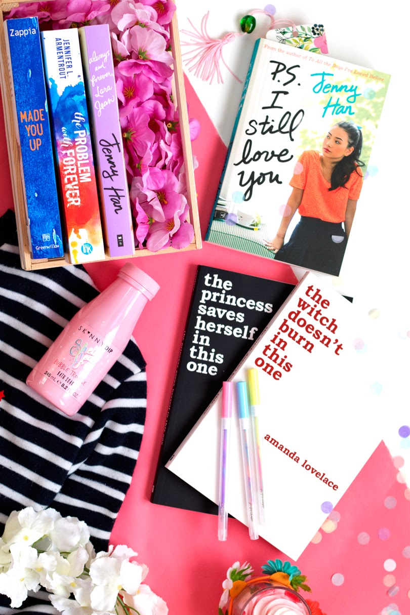young adult reading list flatlay