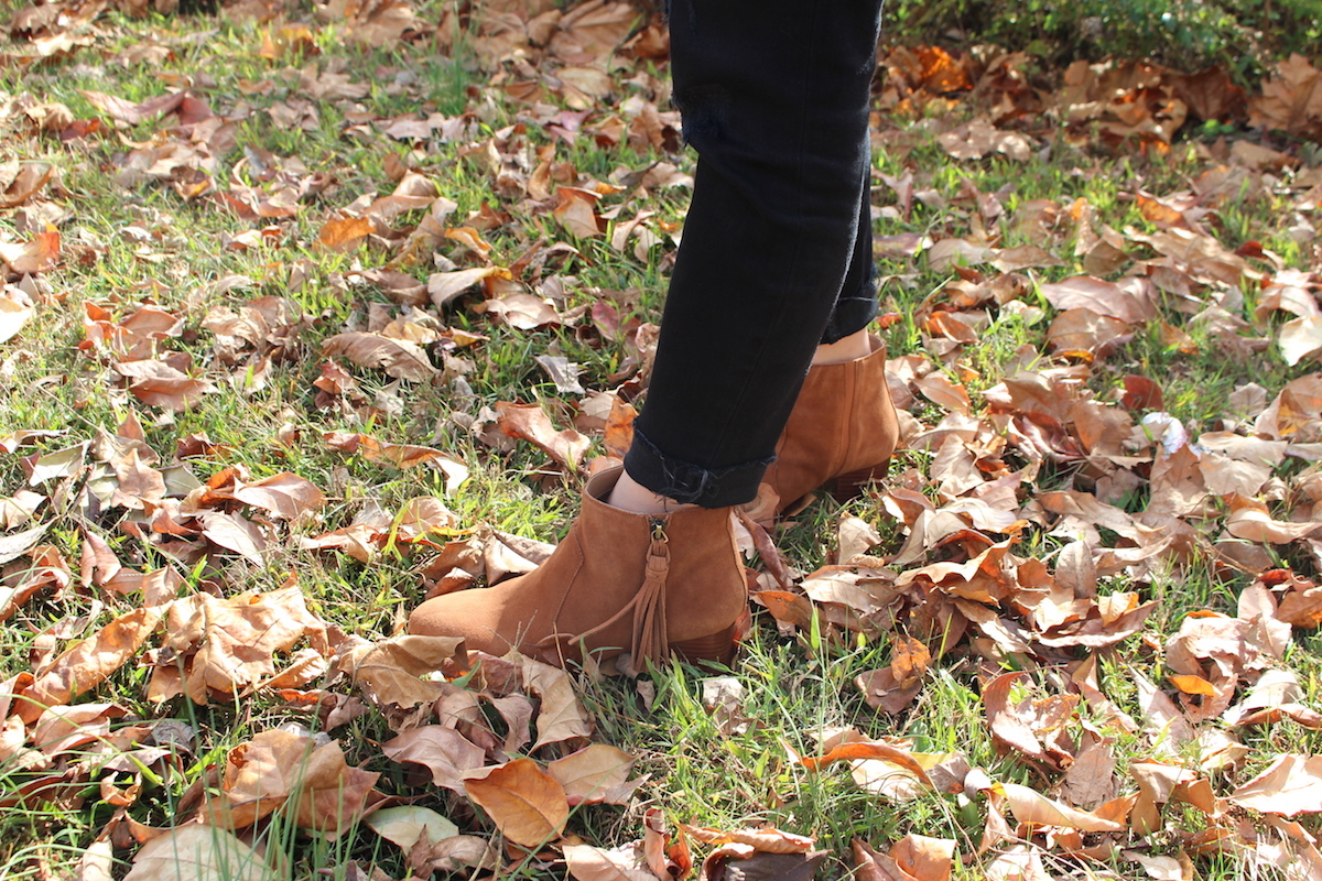 This is a close up of my cognac colored Tahari boots with tassels.