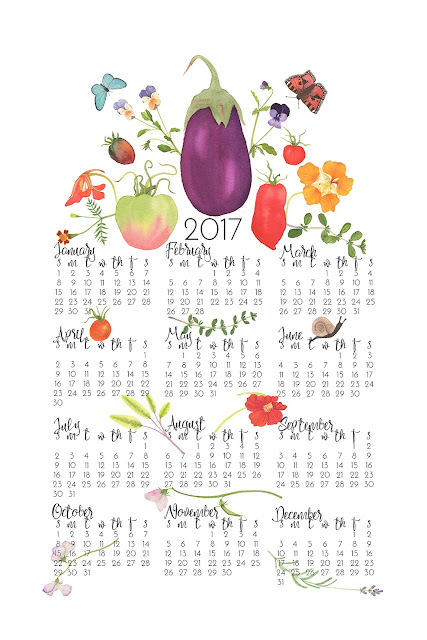 tea towel calendar, surface pattern design, watercolor, garden, kitchen garden, Spoonflower, Anne Butera, My Giant Strawberry