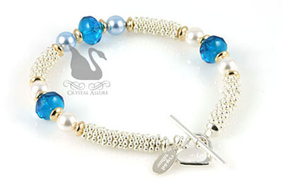 Crystal Allure Sterling Blue Crystal Pearl Beaded Bracelet (B104)