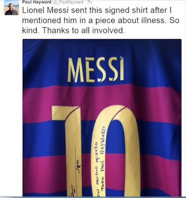 Telegraph Sports writer who suffers from cancer receives signed shirt from Lionel Messi after writing about how Messi's goals saved him