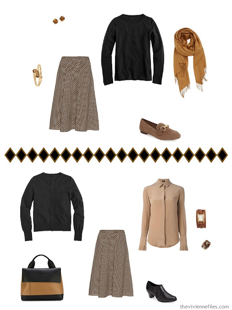 Capsule wardrobe in a brown, green, and blue color palette, inspired by art: Portrait of Marevna by Diego Rivera