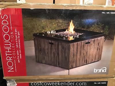 Be in your backyard and stay warm even on a cool night with the Northwoods Gas Fire Table