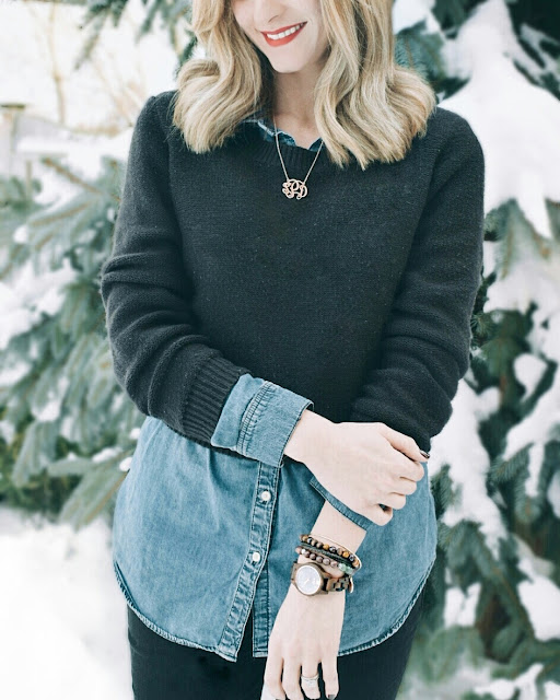 Toronto Fashion blogger with JORD Wood Watch in Winter