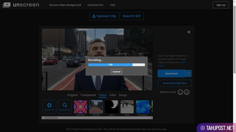 Proses Encoding dan Compositing Unscreen - Menghapus Background Video Secara Otomatis