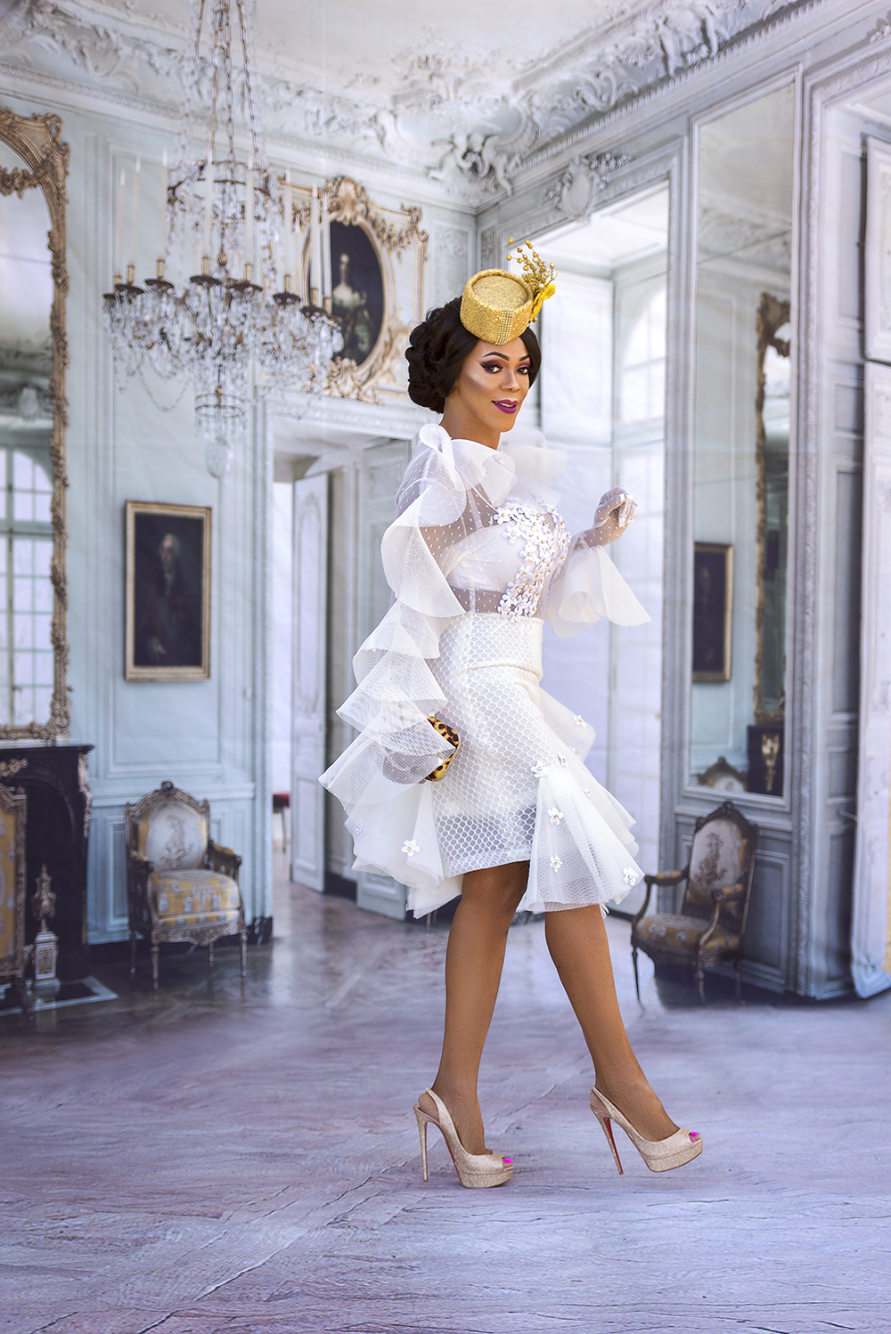 Little White Dress + Gold Fascinator, an Easter Look