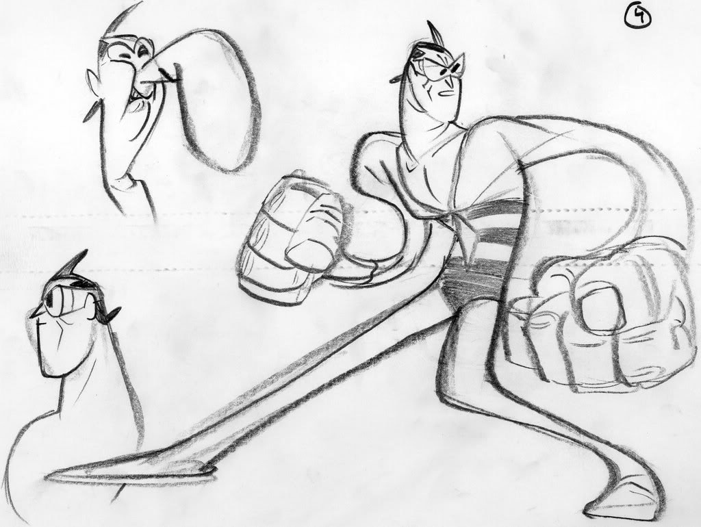 Here 's some early sketches which served to visualize the way our hero would animated