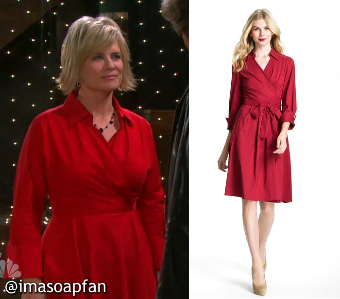 Kayla Brady, Mary Beth Evans, Days of Our Lives, Red Collared Wrap Dress