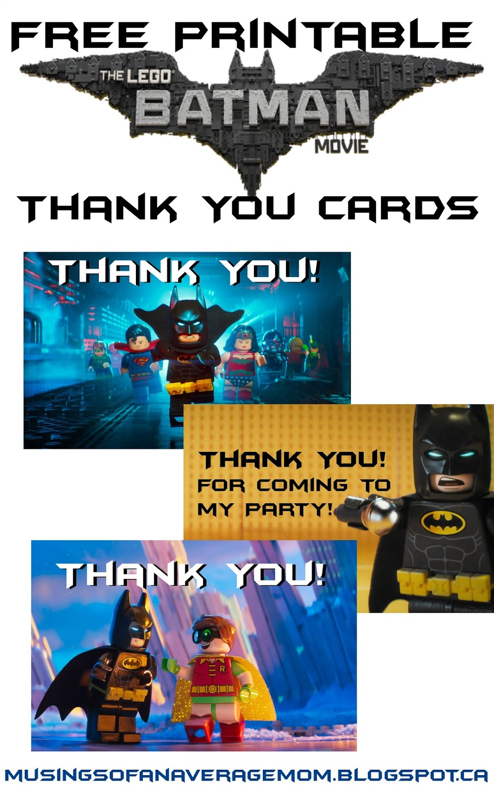 Musings of an Average Mom: Lego Batman Thank You Cards