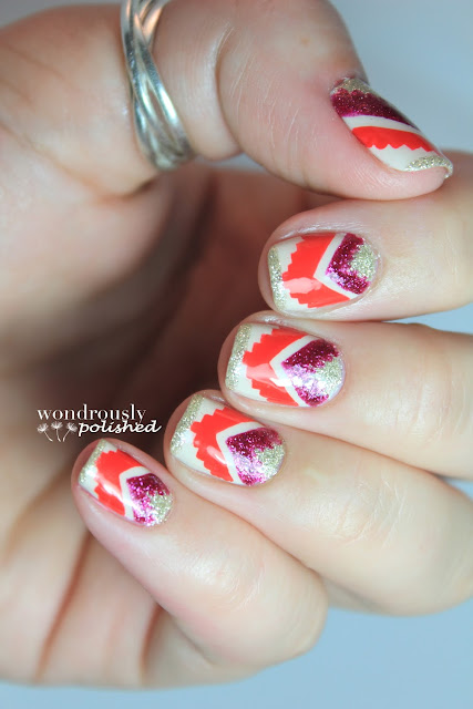 Wondrously Polished February Nail Art Challenge: Wondrously Polished: Sparkly Tribal Goodness