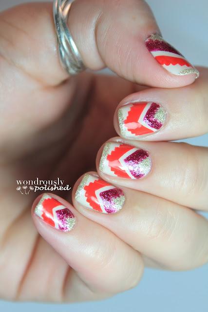 Wondrously Polished April Nail Art Challenge: Wondrously Polished: Sparkly Tribal Goodness
