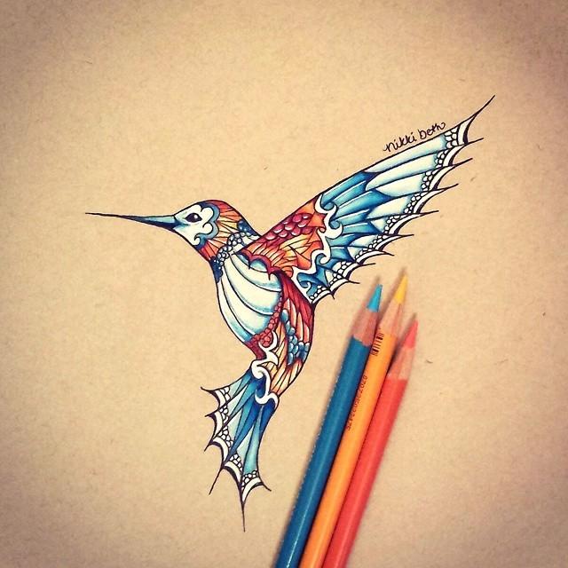04-Hummingbird-Nikki-Beth-Animal-Portrait-Drawings-in-different-Styles-www-designstack-co