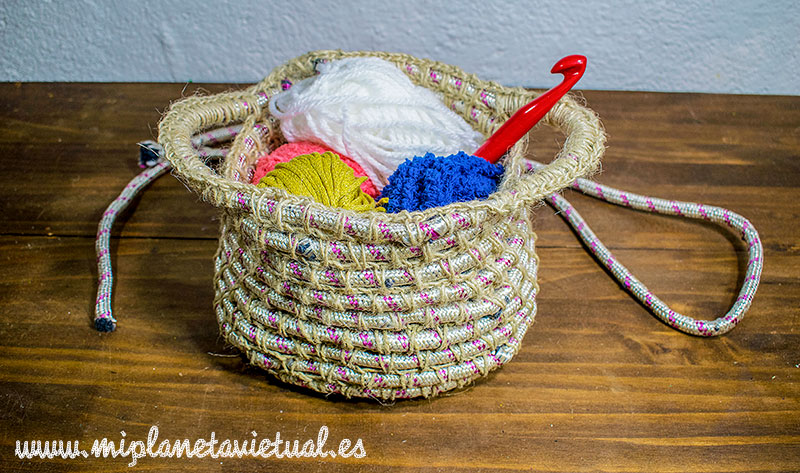 Planeta virtual diy cesta de cuerda tejida a crochet for Cuerda de pita