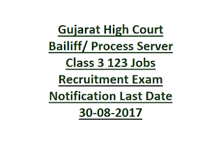 Gujarat High Court Bailiff Process Server Class 3 123 Jobs Recruitment Exam Notification Last Date 30-08-2017