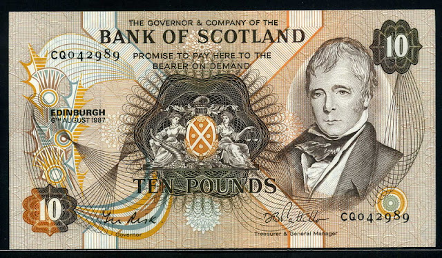Bank of Scotland currency 10 Pounds
