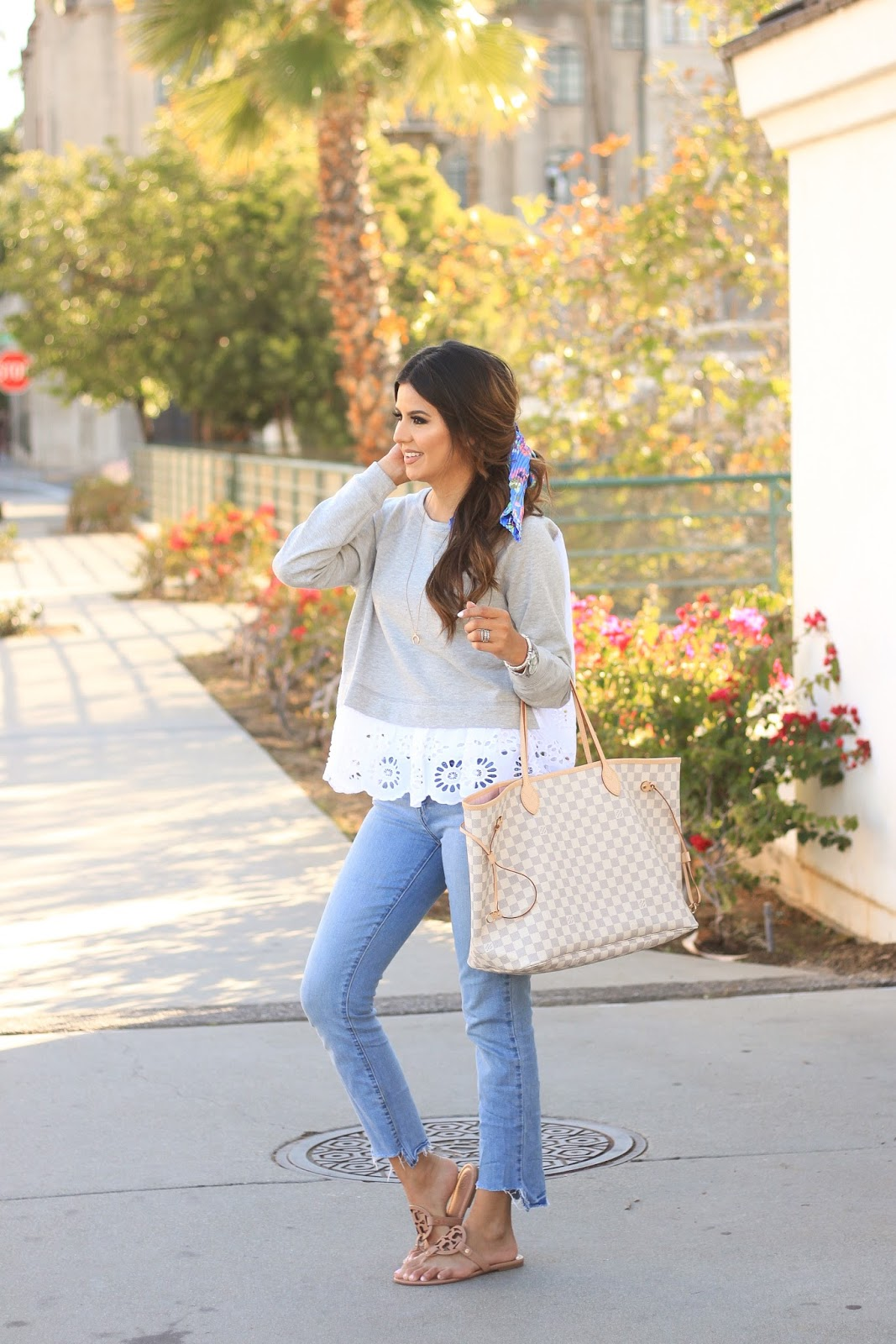 Eyelet Sweatshirt and floral hair scarf outfit for Spring