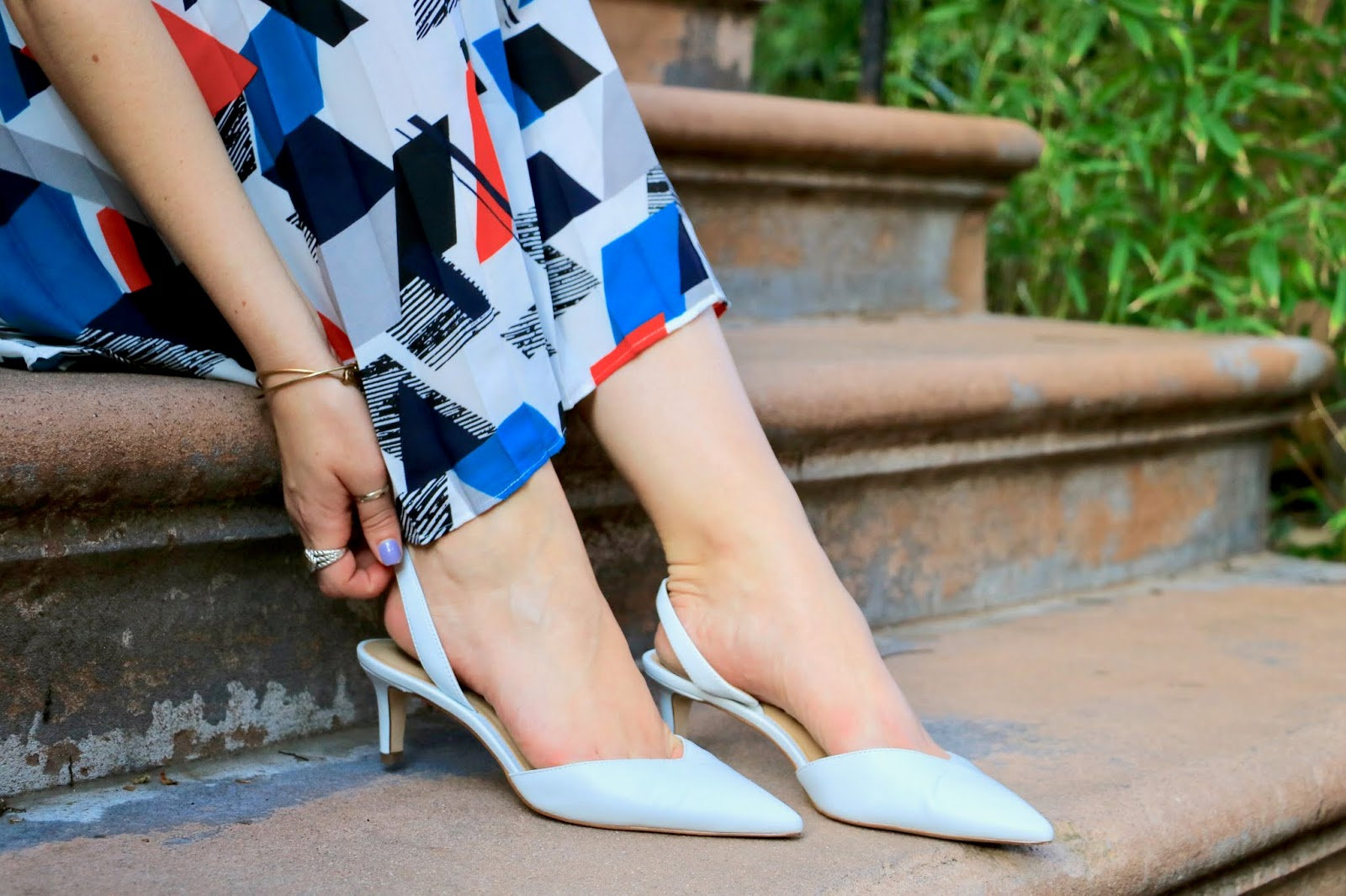 Nyc fashion blogger Kathleen Harper wearing white heel slides