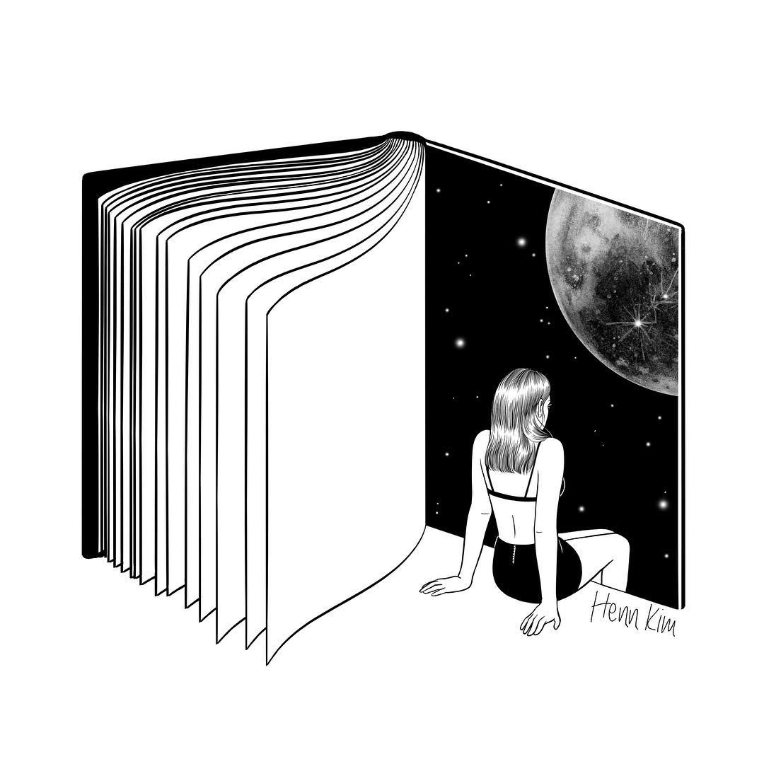 08-Reading-is-dreaming-with-your-eyes-open-Henn-Kim-Surrealism-Black-and-White-Symbolic-Illustrations-www-designstack-co