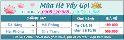 Giá vé máy bay khuyến mãi Vietnam Airline đi Hải Phòng