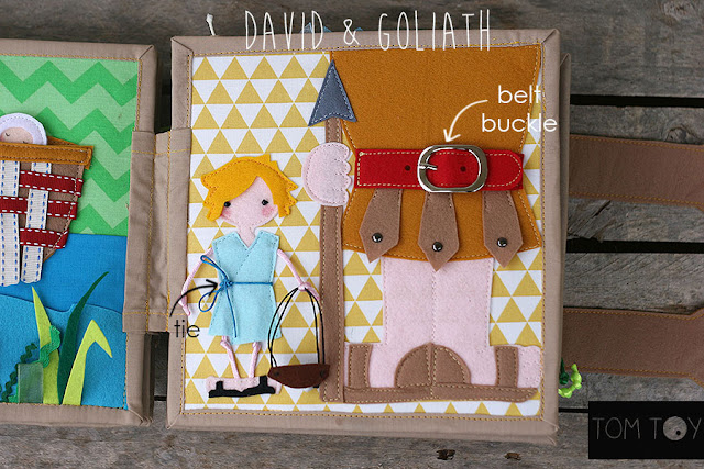 Bible quiet book, church busy book, handmade fabric Bible story David & Goliath