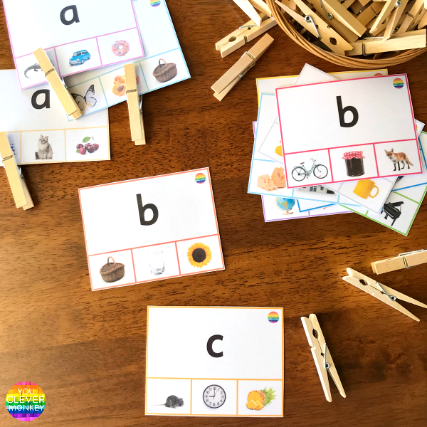 Beginning Letter Sound Clip Cards | you clever monkey