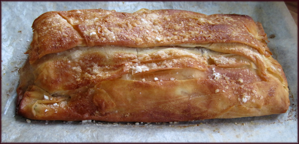 Apple strudel out of the oven