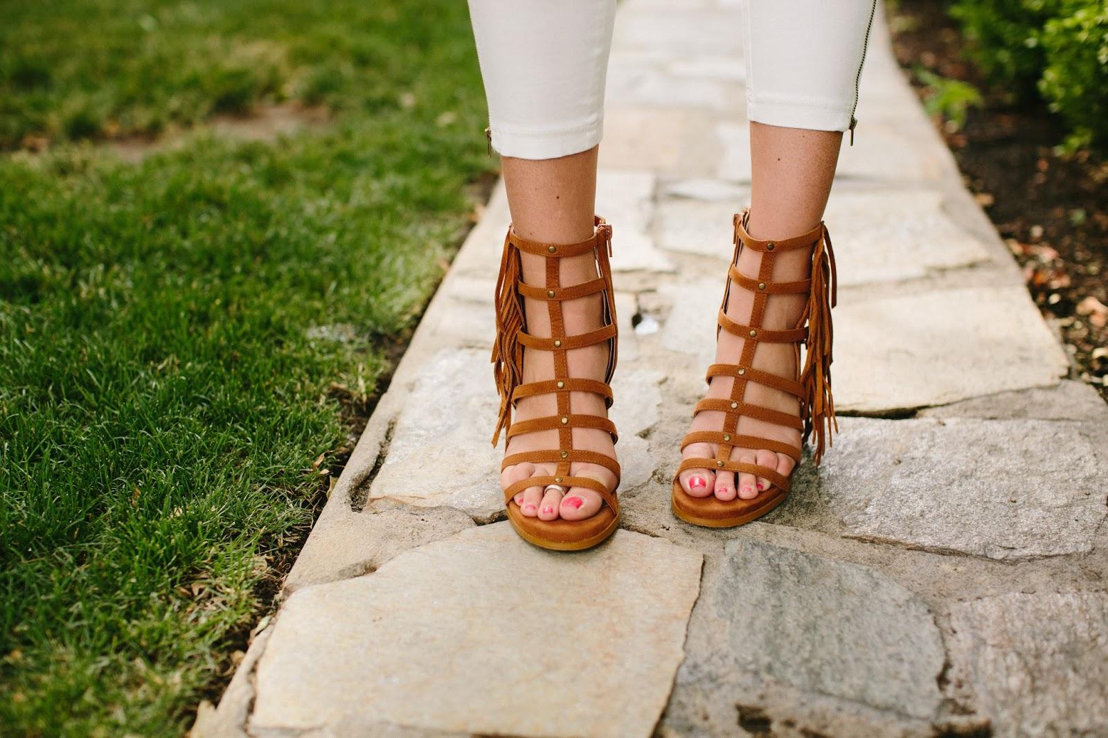 Fringe Sandals, Mari A, Heels