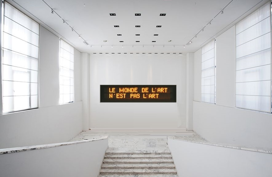 """2013 Electronic display with phrase of Klaus Guingand ."""" The world of art is not Art.''"""