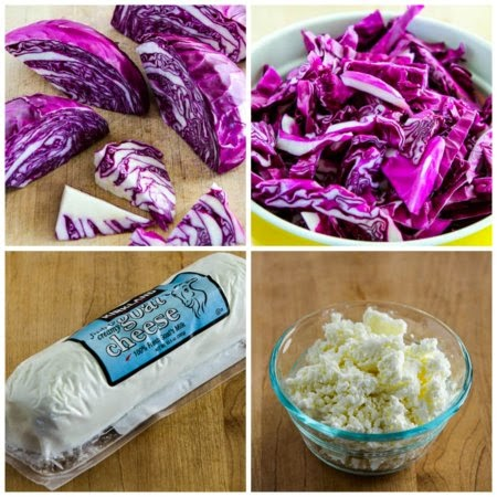 Warm Red Cabbage Salad with Bacon and Goat Cheese found on KalynsKitchen.com