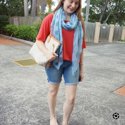 awayfromtheblue instagram summer bermuda denim shorts studded sandals red slouchy tree Jeanswest outfit with scarf and neverfull