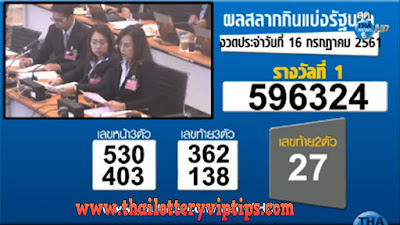 Thailand Lottery live results 16 July 2018