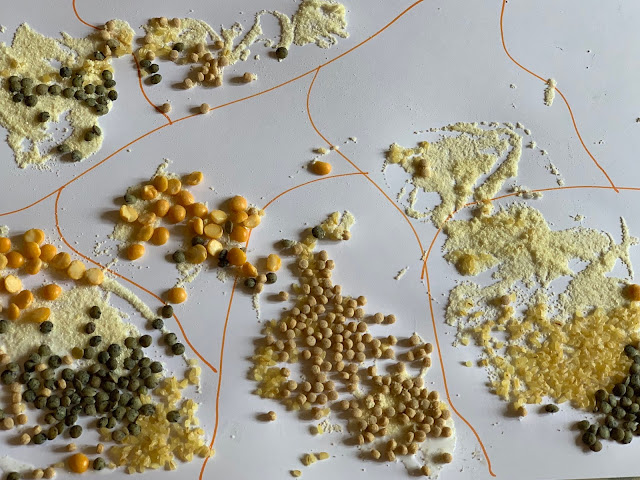 The result when excess grains were poured away from the advanced sensory gluing craft