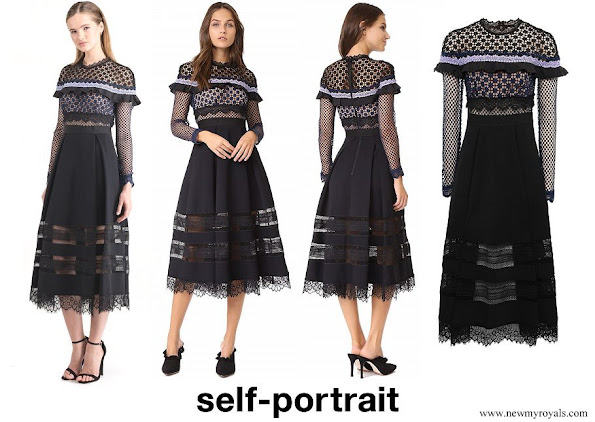 Princess Ingrid Alexandra wore SELF-PORTRAIT Bellis Lace Trim Midi Dress