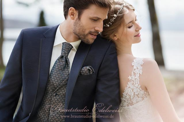 Bräutibam Mode mit Kragen Kante, aktuelle moderne Anzüge in blau, gold, anthrazit. Slim fit Hochzeitsmode.