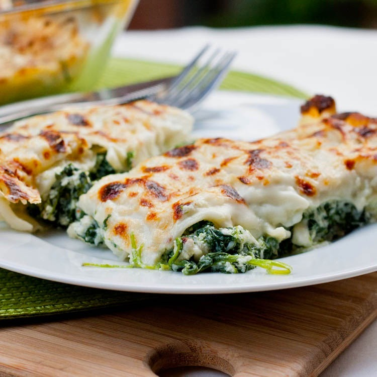 Spinach Cannelloni with Fresh Egg Pasta Recipe