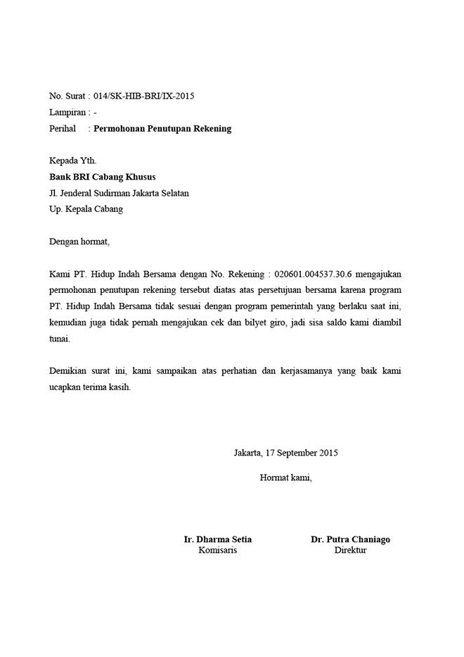 Surat Permohonan Penutupan Rekening Bank BRI