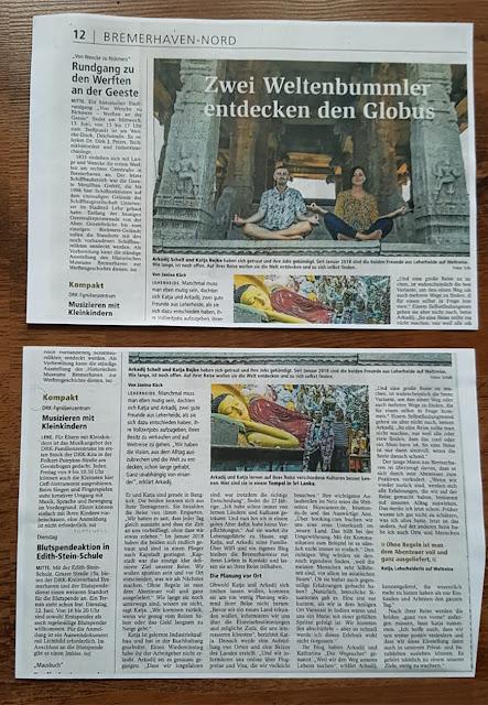 Nordsee-Zeitung Bericht über Weltreisende aus Bremerhaven