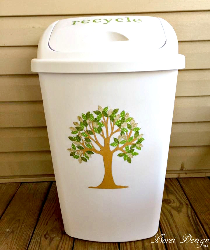 Diy tree art recycling bin trash can and free printable - How to decorate a dustbin ...