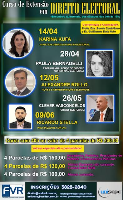 CURSO DE EXTENSÃO EM DIREITO ELEITORAL EM REGISTRO-SP