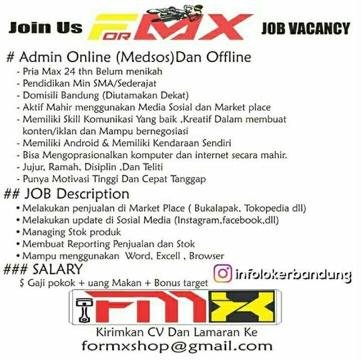 Lowongan Kerja Formxshop Bandung Mei 2018